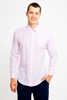Erkek Giyim - PEMBE XL Beden Uzun Kol Desenli Slim Fit Gömlek
