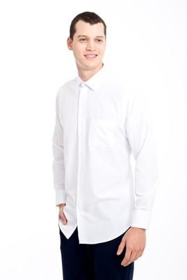 Erkek Giyim - BEYAZ 4X Beden Uzun Kol Desenli Gömlek