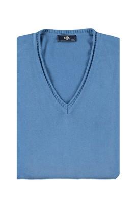 Erkek Giyim - MAVİ 3X Beden V Yaka Regular Fit Triko