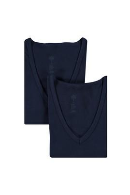 Erkek Giyim - Lacivert XXL Beden 2'li V Yaka Atlet
