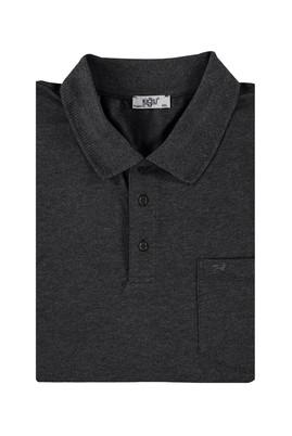 Erkek Giyim - Antrasit 4X Beden King Size Polo Yaka Tişört