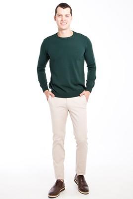 Erkek Giyim - Bej 48 Beden Slim Fit Desenli Spor Pantolon