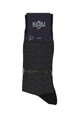 Erkek Giyim - Siyah 42 Beden Bambu Desenli Çorap