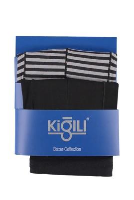 Erkek Giyim - Açık Gri XL Beden 2'li Çizgili Süprem Boxer