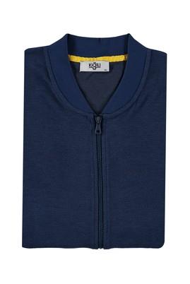 Erkek Giyim - MAVİ 5X Beden King Size Fermuarlı Sweatshirt