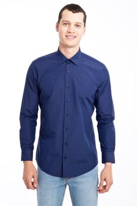 Erkek Giyim - LACİVERT L Beden Uzun Kol Desenli Slim Fit Gömlek