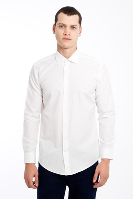 Erkek Giyim - BEYAZ XS Beden Uzun Kol Desenli Slim Fit Gömlek
