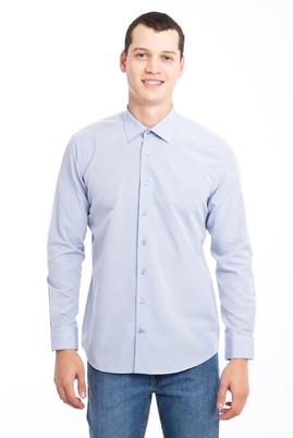 Erkek Giyim - MAVİ L Beden Uzun Kol Desenli Slim Fit Gömlek