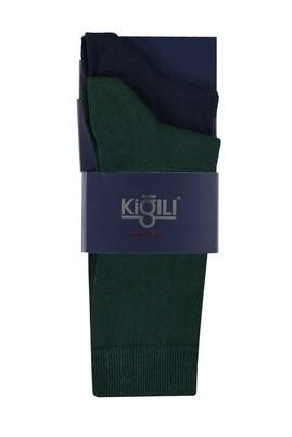 Erkek Giyim - KOYU YESİL 39 Beden 2'li Düz Çorap