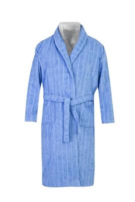 Erkek Giyim - AÇIK MAVİ SM Beden Şal Yaka Jakarlı Bornoz