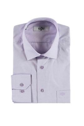 Erkek Giyim - LİLA 3X Beden Uzun Kol Desenli Klasik Gömlek