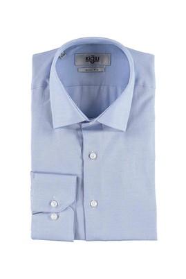 Erkek Giyim - AÇIK MAVİ S Beden Uzun Kol Desenli Slim Fit Gömlek