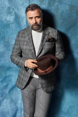 Erkek Giyim - Açık Gri 52 Beden İtalyan Klasik Yünlü Ekose Ceket