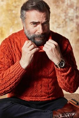 Erkek Giyim - TURUNCU L Beden Balıkçı Yaka Tasarım Triko Kazak