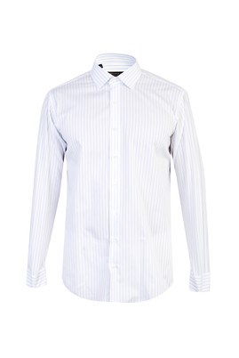 Erkek Giyim - BEYAZ M Beden Uzun Kol Çizgili Gömlek