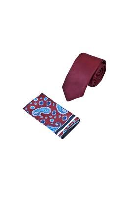 Erkek Giyim - BORDO 60 Beden 2'li Kravat Mendil Set