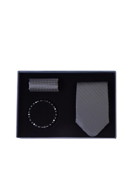 Erkek Giyim - SİYAH  Beden 3'lü Kravat Mendil Bileklik Set