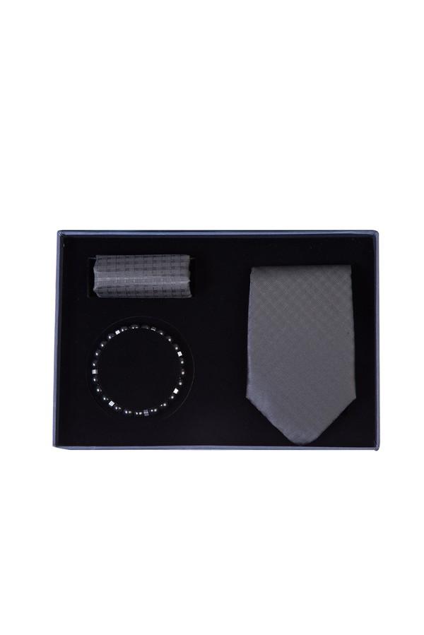 3'lü Kravat Mendil Bileklik Set