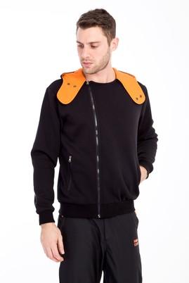 Erkek Giyim - SİYAH XL Beden Kapüşonlu Asimetrik Sweatshirt