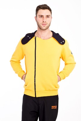 Erkek Giyim - SARI M Beden Kapüşonlu Asimetrik Sweatshirt