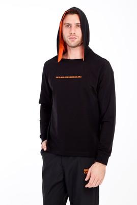 Erkek Giyim - SİYAH L Beden Kapüşonlu Sweatshirt