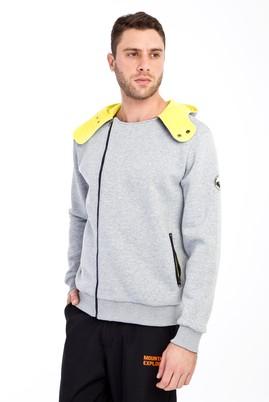 Erkek Giyim - AÇIK GRİ L Beden Kapüşonlu Asimetrik Sweatshirt