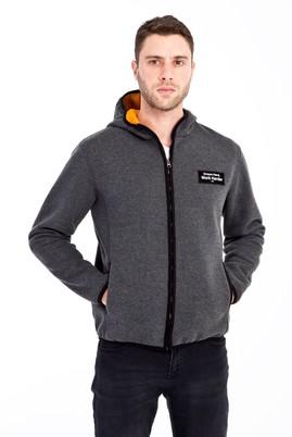 Erkek Giyim - AÇIK ANTRASİT XL Beden Kapüşonlu Outdoor Sweatshirt