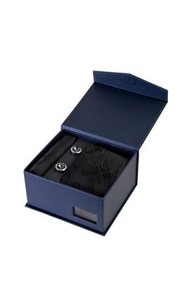 Erkek Giyim - SİYAH  Beden 3'lü Kravat Mendil Kol Düğmesi Set