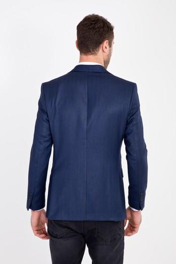 Erkek Giyim - Slim Fit Balıksırtı Ceket