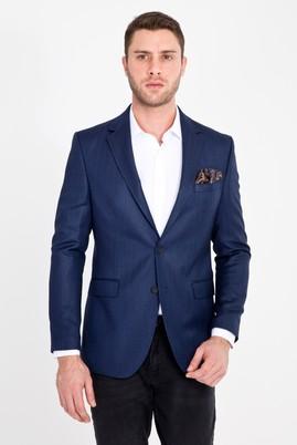 Erkek Giyim - KOYU MAVİ 46 Beden Slim Fit Balıksırtı Ceket
