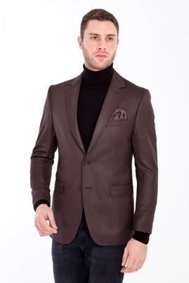 Erkek Giyim - KOYU KAHVE 50 Beden Balıksırtı Ceket