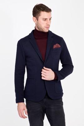 Erkek Giyim - LACİVERT 48 Beden Slim Fit Örme Spor Ceket