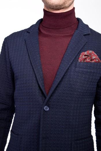 Erkek Giyim - Slim Fit Örme Spor Ceket