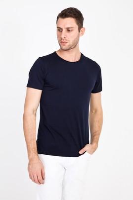 Erkek Giyim - LACİVERT M Beden Bisiklet Yaka Slim Fit Tişört