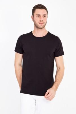 Erkek Giyim - SİYAH XXL Beden Bisiklet Yaka Slim Fit Tişört