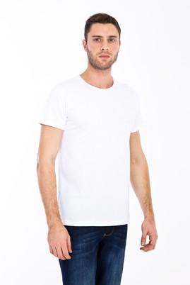 Erkek Giyim - BEYAZ M Beden Bisiklet Yaka Slim Fit Tişört