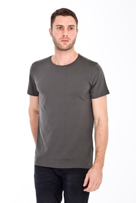 Erkek Giyim - Açık Yeşil XL Beden Bisiklet Yaka Slim Fit Tişört