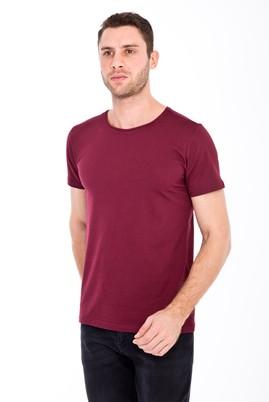 Erkek Giyim - BORDO XL Beden Bisiklet Yaka Slim Fit Tişört