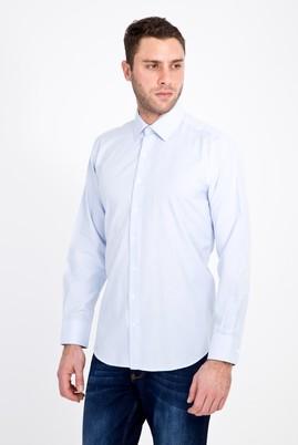 Erkek Giyim - AÇIK MAVİ XXL Beden Uzun Kol Klasik Çizgili Gömlek