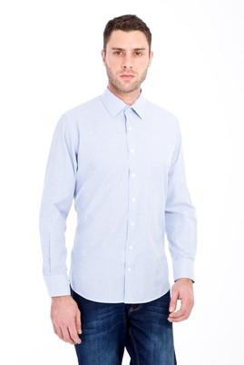 Erkek Giyim - LACİVERT 4X Beden Uzun Kol Klasik Çizgili Gömlek