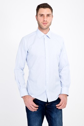 Erkek Giyim - AÇIK MAVİ M Beden Uzun Kol Klasik Çizgili Gömlek