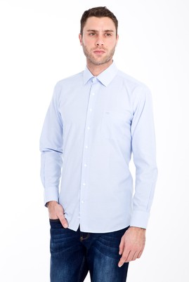 Erkek Giyim - AÇIK MAVİ L Beden Uzun Kol Klasik Çizgili Gömlek