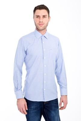 Erkek Giyim - LACİVERT XL Beden Uzun Kol Klasik Çizgili Gömlek