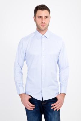 Erkek Giyim - AÇIK MAVİ XL Beden Uzun Kol Klasik Çizgili Gömlek
