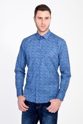 Erkek Giyim - LACİVERT XL Beden Uzun Kol Baskılı Gömlek