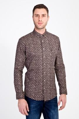 Erkek Giyim - BEJ S Beden Uzun Kol Slim Fit Baskılı Gömlek