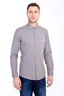 Erkek Giyim - ORTA FÜME L Beden Uzun Kol Slim Fit Baskılı Gömlek