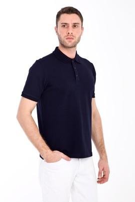 Erkek Giyim - LACİVERT XXL Beden Polo Yaka Slim Fit Tişört