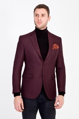 Erkek Giyim - BORDO 52 Beden Slim Fit Desenli Ceket