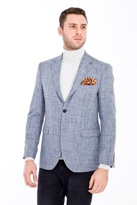 Erkek Giyim - ORTA FÜME 48 Beden Slim Fit Desenli Ceket